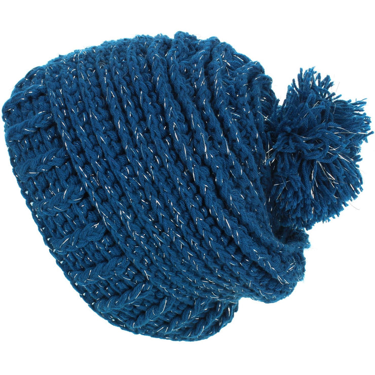 Ribbed Tinsel Bobble Beanie Hat - Blue