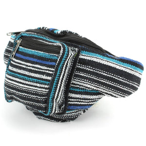 Canvas Bum Bag Money Belt Fanny Pack Blue & Black
