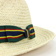 Wide Brim Straw Panama Fedora Hat - Green & Navy