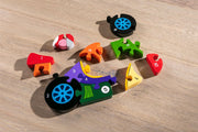 Handmade Wooden Jigsaw Puzzle - Number Racing Car