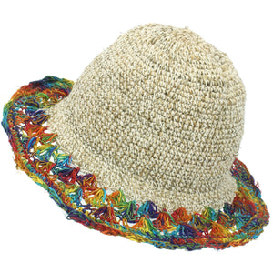 Hemp & Cotton Crochet Sun Hat - Rainbow Brim