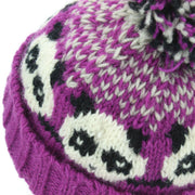Wool Knit Bobble Beanie Hat - Panda - Pink White