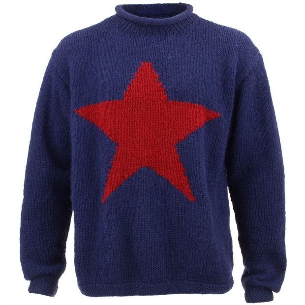 Chunky Wool Knit Star Jumper - Navy & Red