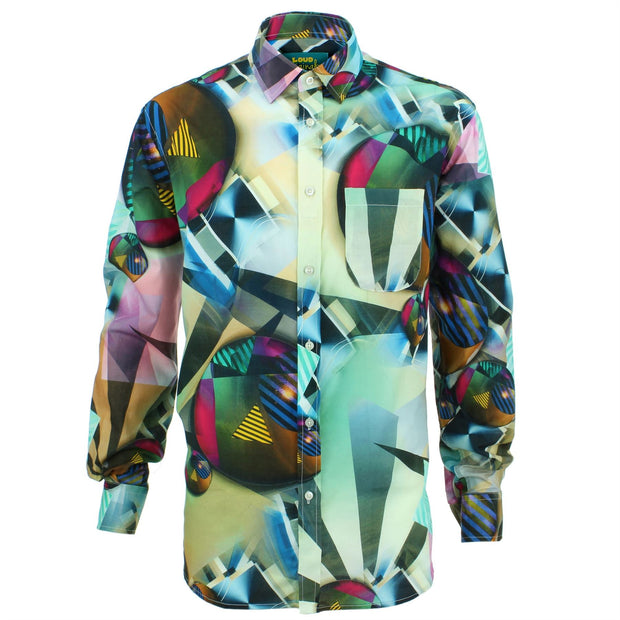 Regular Fit Long Sleeve Shirt - Red & Green Abstract