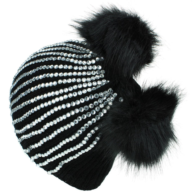 Bling Diamante Studded Chunky Knit Beanie Hat with Two Bobbles - Black