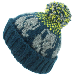 Wool Knit Bobble Beanie Hat - Elephant - Teal Yellow