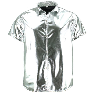 Shiny Metallic Short Sleeve Shirt - Silver