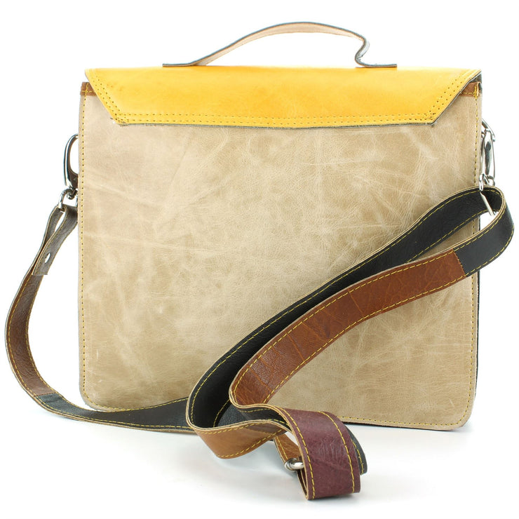 Real Leather Colourful Satchel Messenger Shoulder Bag - Yellow & Navy Mix
