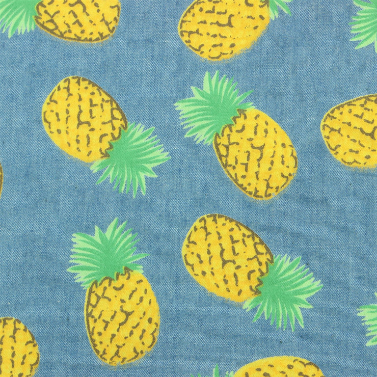 Tailored Fit Short Sleeve Shirt - Denim Blue Pineapples