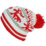 Chunky Slouch Bobble Beanie Hat with Reindeer Pattern - White & Red
