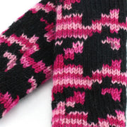 Wool Knit Arm Warmer - Pink Houndstooth