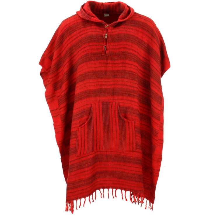 Vegan Wool Square Hooded Poncho with Toggles - Red