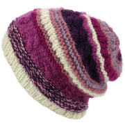 Wool Knit Beanie Hat - Stripe Pink