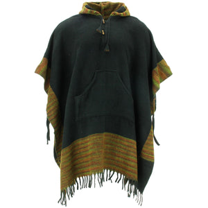 Soft Vegan Wool Hooded Tibet Poncho - Black Sunset