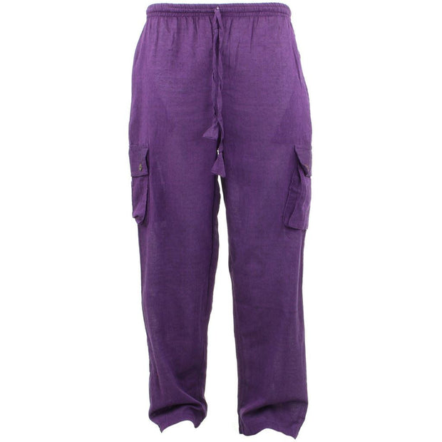 Classic Nepalese Lightweight Cotton Plain Cargo Trousers Pants - Purple