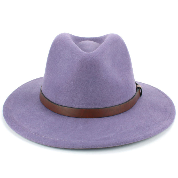 Wool Felt Fedora with Leather Band - Lilac