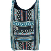 Diamond Pattern Canvas Sling Shoulder Bag - Black Blue