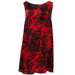 Shift Shaper Dress - Red Tropical Leaf