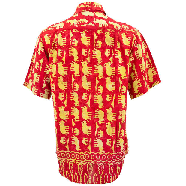 Regular Fit Short Sleeve Shirt - Herd of Elephants - Red