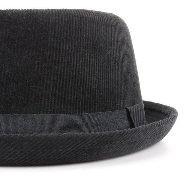 Corduroy Pork Pie Hat - Black