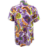 Regular Fit Short Sleeve Shirt - Bright Purple Floral