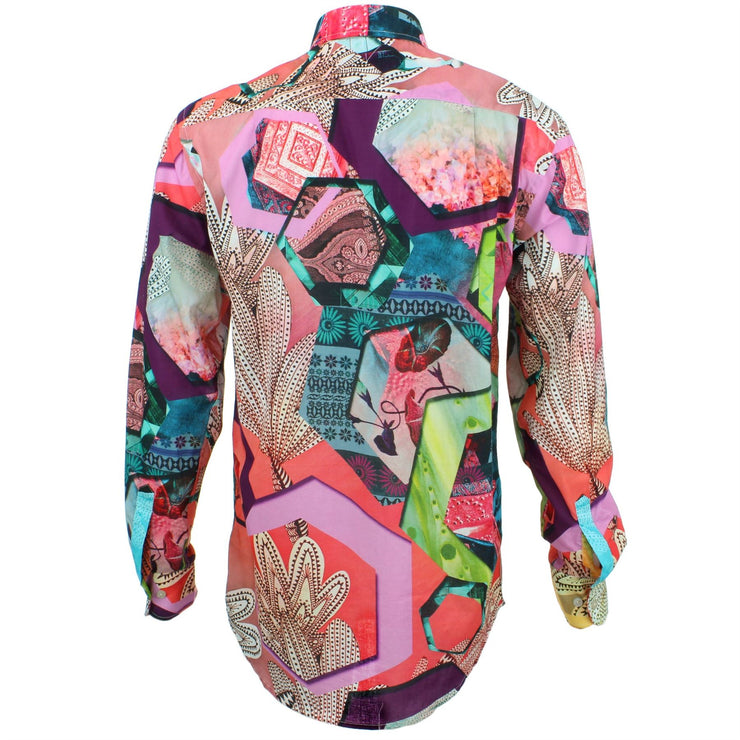 Regular Fit Long Sleeve Shirt - Pink & Red Abstract Cactus