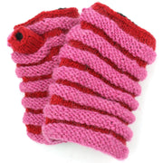 Wool Knit Arm Warmer - Ruched - Pink Red