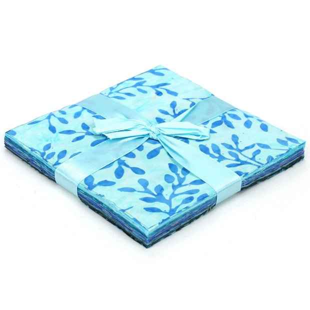 Cotton Batik Pre Cut Fabric Bundles - Charm Pack - Blue Slate