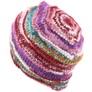 Chunky Ribbed Wool Knit Beanie Hat with Space Dye Design - Pink