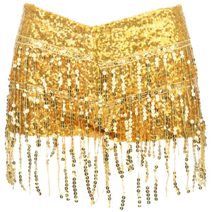 Sequin Tassel Hot Pants - Gold