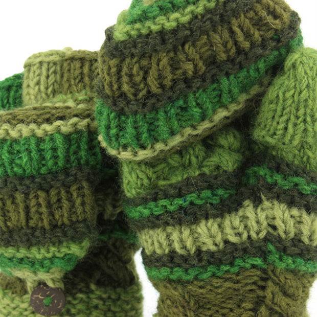Chunky Wool Fingerless Shooter Gloves - Striped Mixed Knits - Green