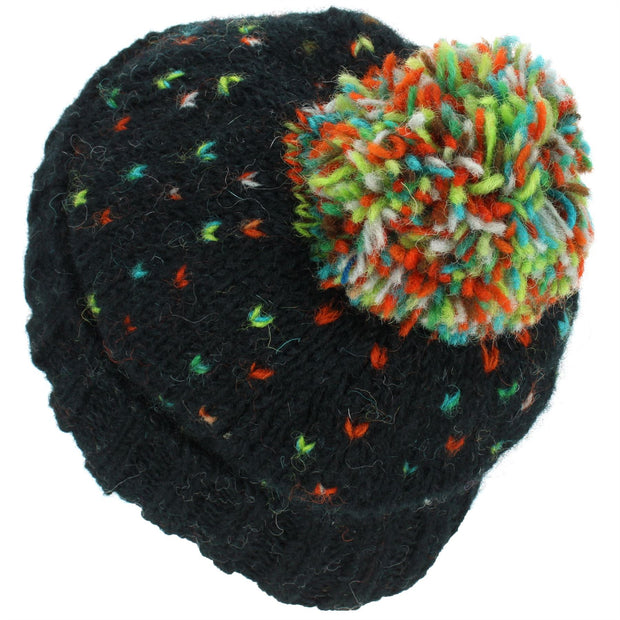 Tik Tik Wool Bobble Beanie Hat - Black