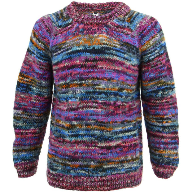 Chunky Wool Knit Space Dye Jumper - Pink Space Dye