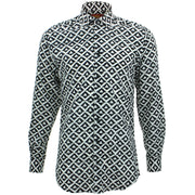 Tailored Fit Long Sleeve Shirt - Block Print - Triangles