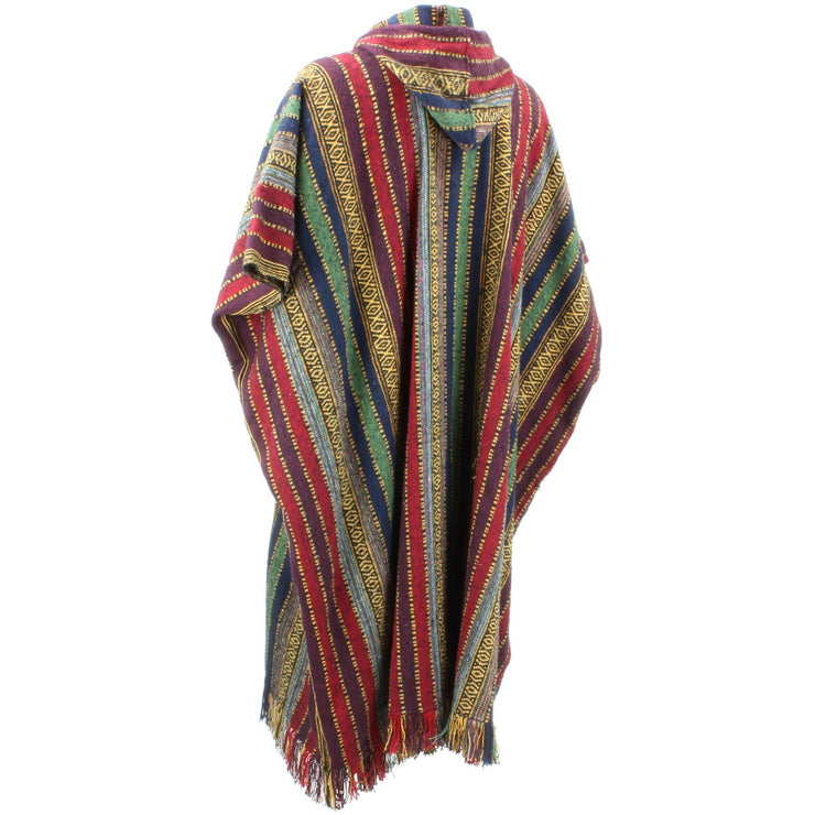 Brushed Cotton Long Hooded Poncho - Red Green