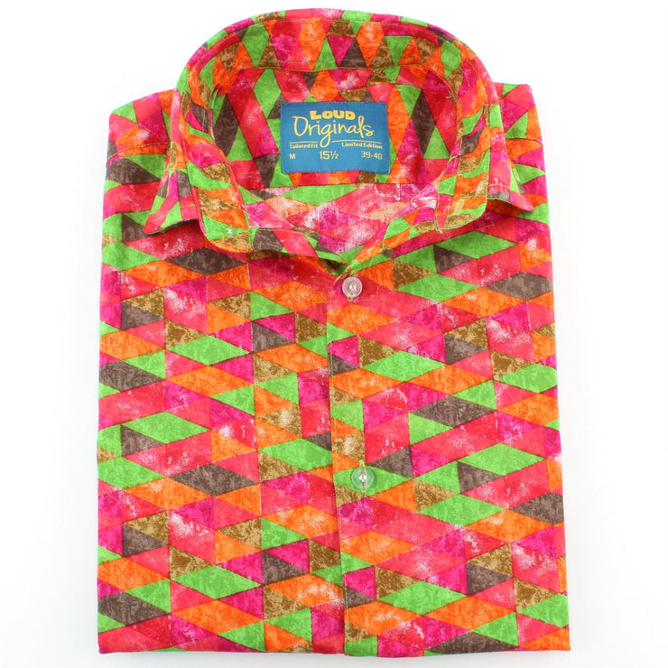 Tailored Fit Short Sleeve Shirt - Pink Green Harlequin