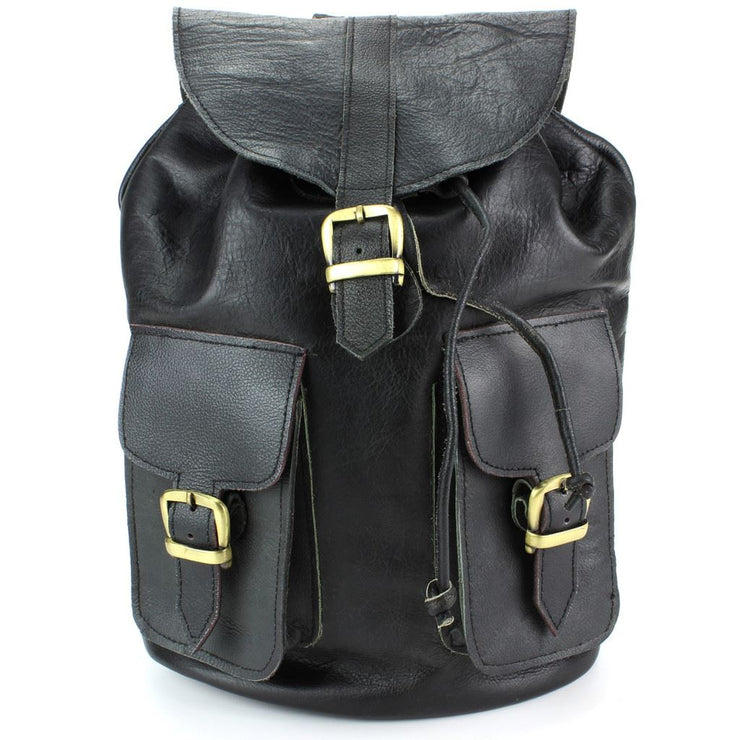 Real Leather Backpack with Two Front Pockets - Black
