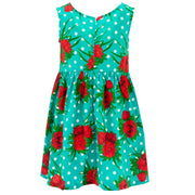 The Shroom Dress - Polka Dot Roses Turquoise