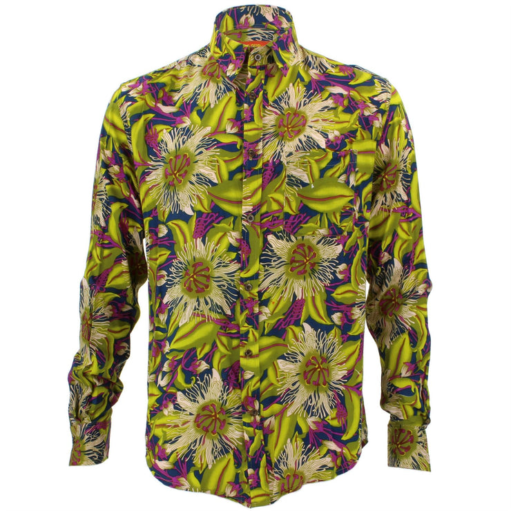 Tailored Fit Long Sleeve Shirt - Bright Green Floral on Purple