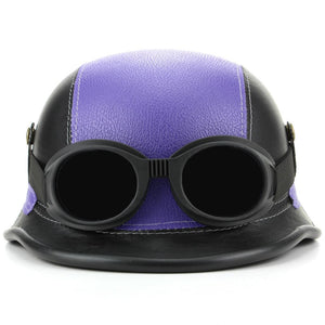 Combat Novelty Festival Helmet with Goggles - Purple & Black