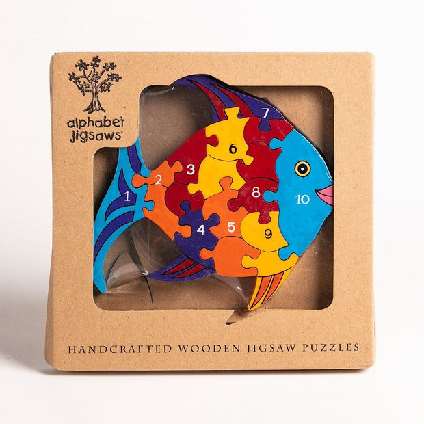 Handmade Wooden Jigsaw Puzzle - Number Fish