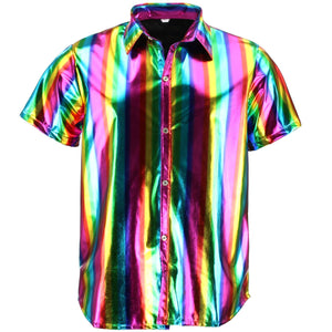 Shiny Metallic Short Sleeve Shirt - Rainbow
