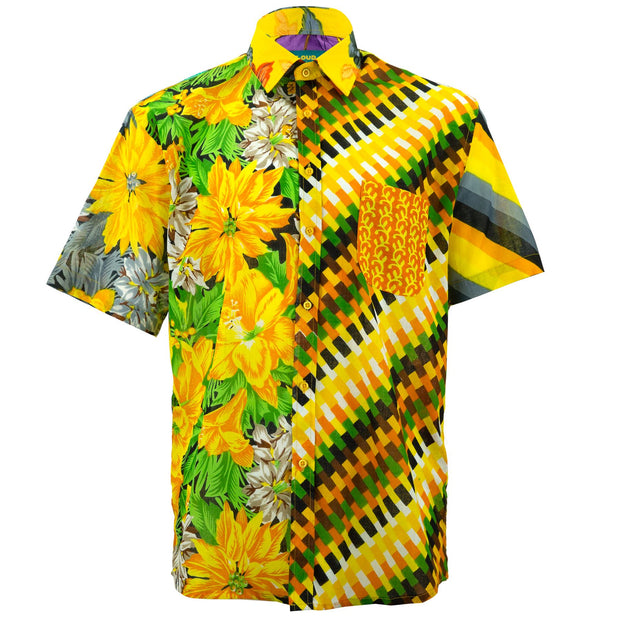 Regular Fit Short Sleeve Shirt - Random Mixed Panel Yellow