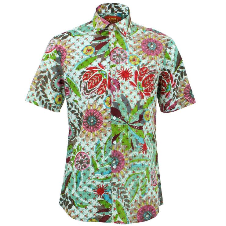 Slim Fit Short Sleeve Shirt - Transparent Floral