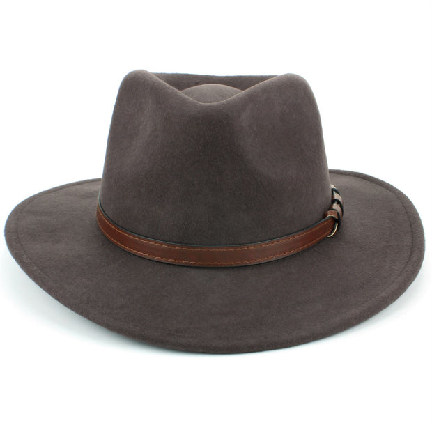 Wool Fedora Hat with Faux Leather Band - Brown