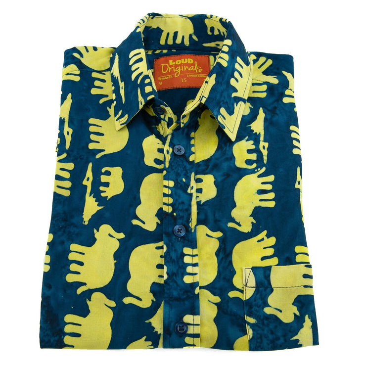 Regular Fit Short Sleeve Shirt - Herd of Elephants - Blue