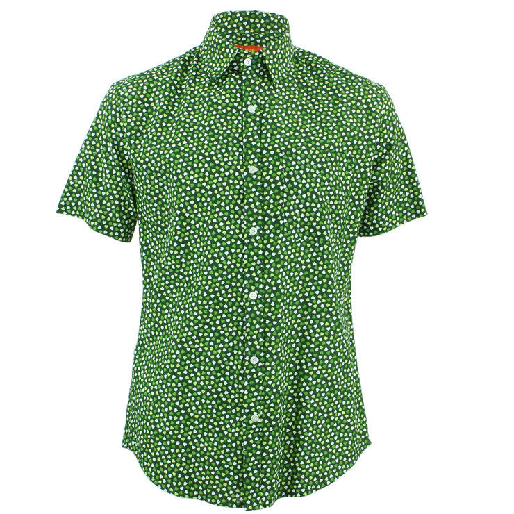 Tailored Fit Short Sleeve Shirt - Green Hearts