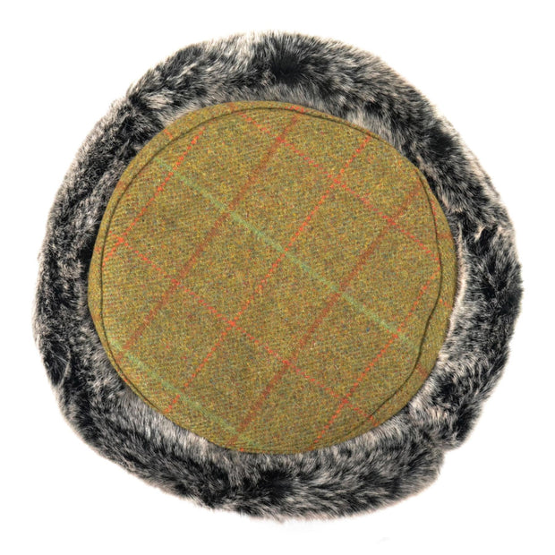 Flat Top Tweed Hat with Faux Fur cuff - Dark green