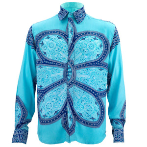 Regular Fit Long Sleeve Shirt - Flower Mandala - Light Blue