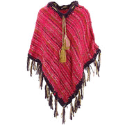 Stripe Crochet Poncho Long - Pink